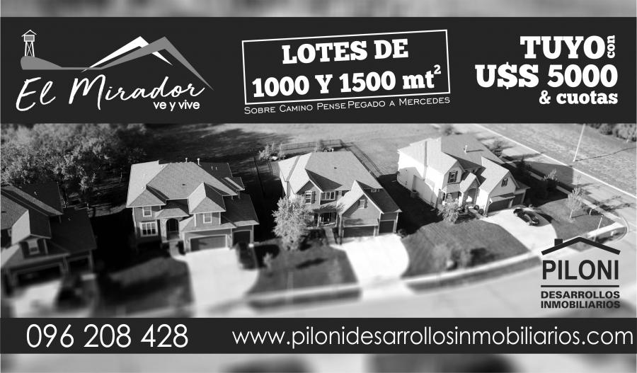 TERRENOS DE 1500 MTS con U$S 5.000 de ENTREGA !!