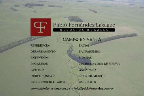 Campo / Chacra en Venta en Cuchilla Casa De Piedra