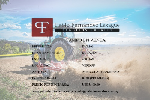 Campo / Chacra en Venta en Verdún, Durazno