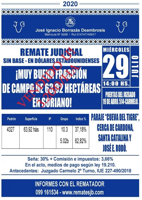 FRACCIÓN DE MUY BUEN CAMPO 63,92 HÁS. EN SORIANO